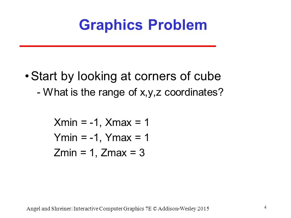 4 Graphics Problem Start by looking at corners of cube ­What is the range of x,y,z coordinates.
