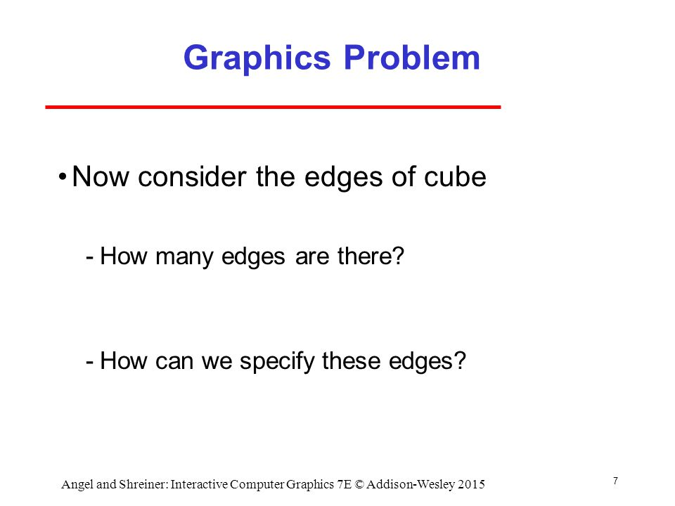 7 Graphics Problem Now consider the edges of cube ­How many edges are there.