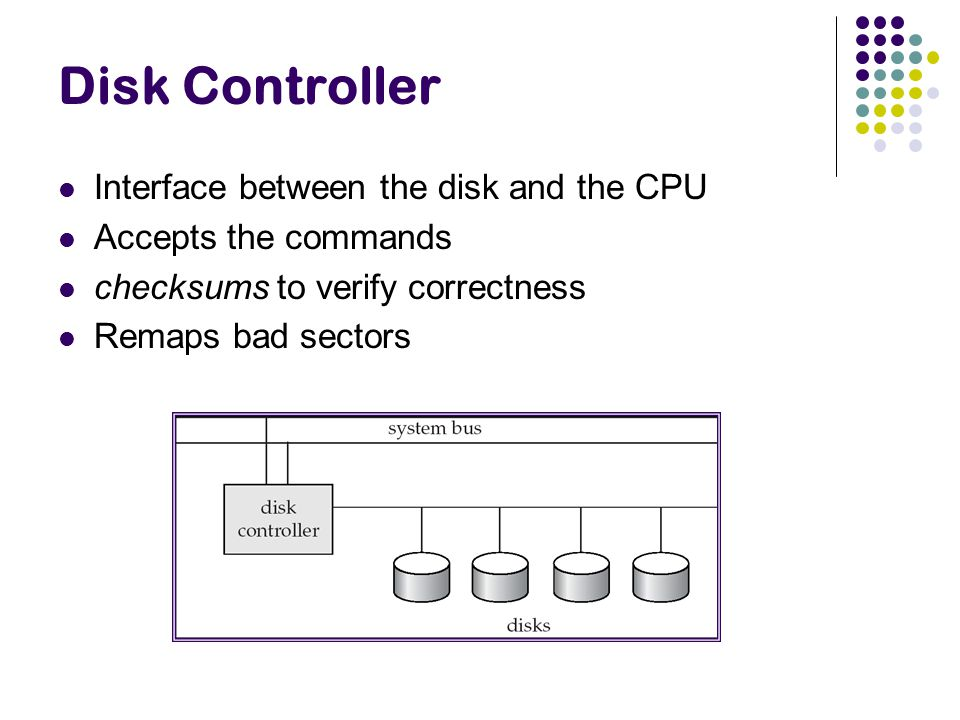 Disk Controller Interface between the disk and the CPU Accepts the commands checksums to verify correctness Remaps bad sectors