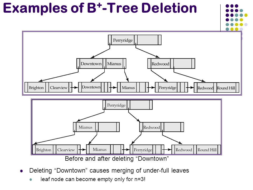 Examples of B + -Tree Deletion Deleting Downtown causes merging of under-full leaves leaf node can become empty only for n=3.