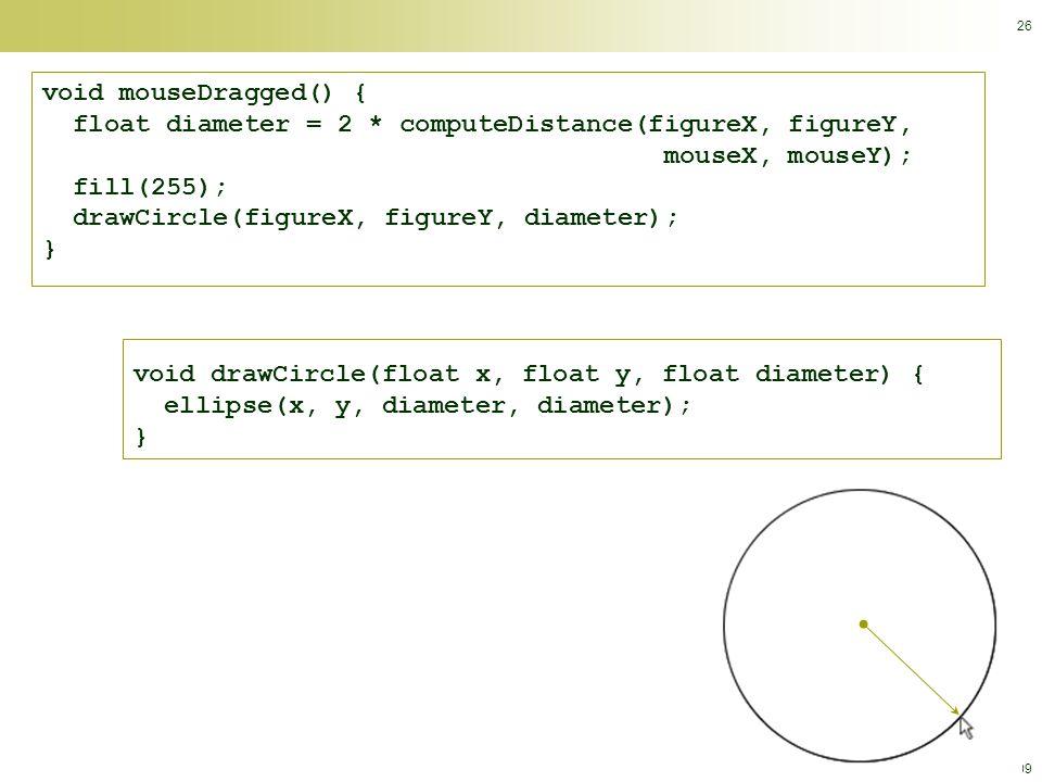 © Calvin College, 2009 26 void mouseDragged() { float diameter = 2 * computeDistance(figureX, figureY, mouseX, mouseY); fill(255); drawCircle(figureX, figureY, diameter); } void drawCircle(float x, float y, float diameter) { ellipse(x, y, diameter, diameter); }