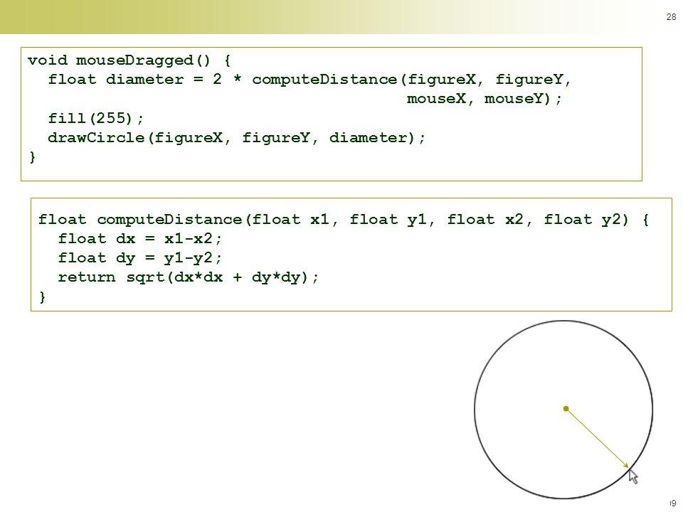 © Calvin College, 2009 28 void mouseDragged() { float diameter = 2 * computeDistance(figureX, figureY, mouseX, mouseY); fill(255); drawCircle(figureX, figureY, diameter); } float computeDistance(float x1, float y1, float x2, float y2) { float dx = x1-x2; float dy = y1-y2; return sqrt(dx*dx + dy*dy); }