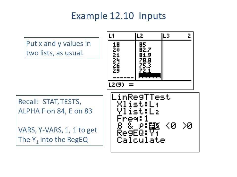 Example 12.10 Inputs Put x and y values in two lists, as usual.