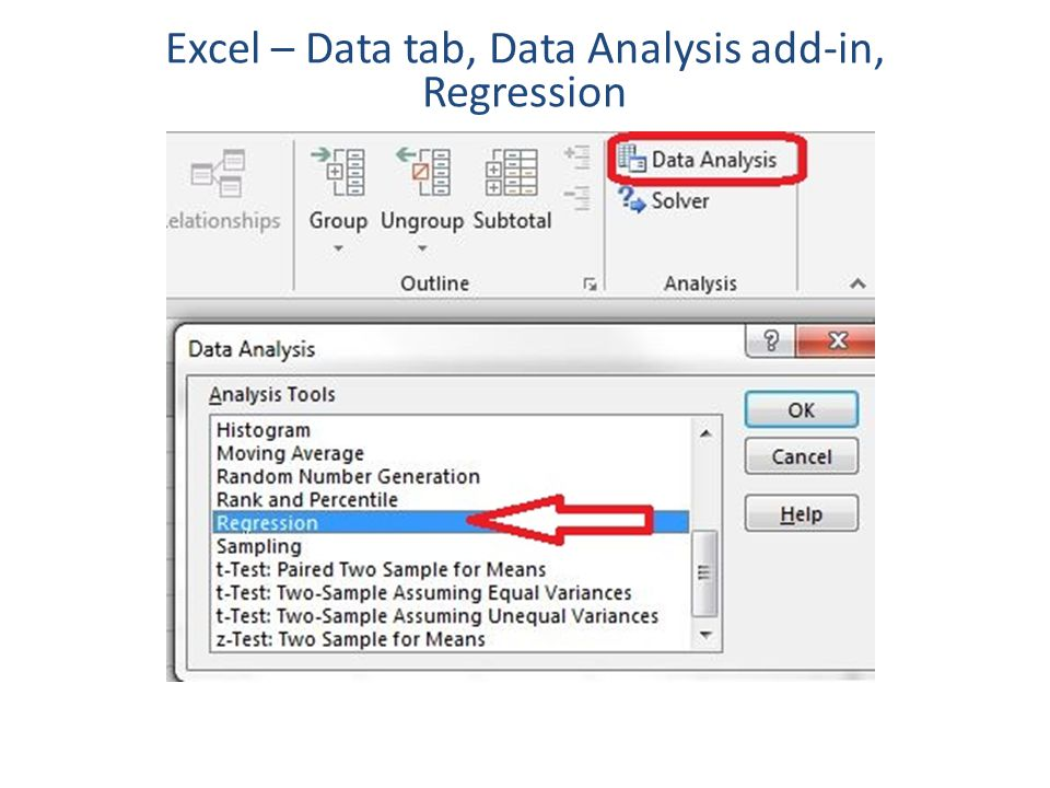 Excel – Data tab, Data Analysis add-in, Regression