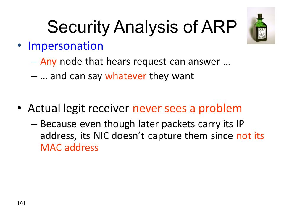 101 Security Analysis of ARP Impersonation – Any node that hears request can answer … – … and can say whatever they want Actual legit receiver never s