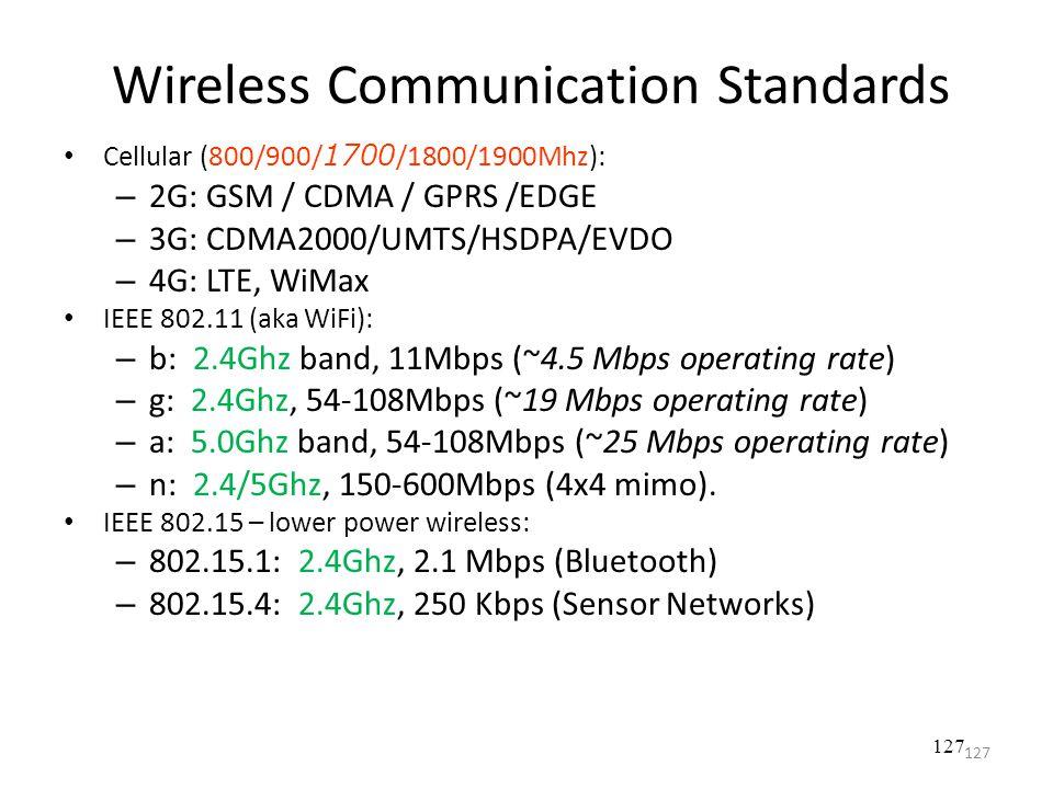 Wireless Communication Standards Cellular (800/900/ 1700 /1800/1900Mhz): – 2G: GSM / CDMA / GPRS /EDGE – 3G: CDMA2000/UMTS/HSDPA/EVDO – 4G: LTE, WiMax