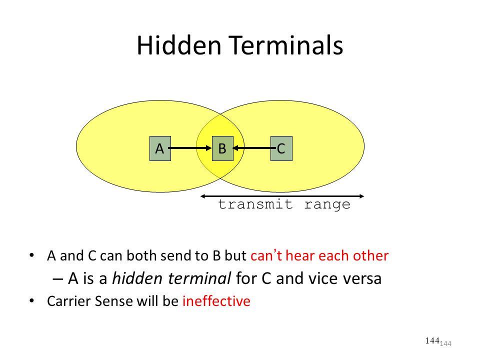 144 A and C can both send to B but can't hear each other – A is a hidden terminal for C and vice versa Carrier Sense will be ineffective Hidden Termin
