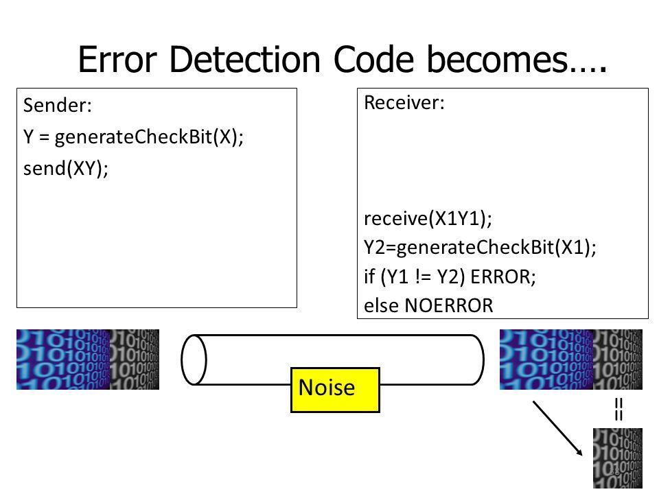 Error Detection Code becomes…. Sender: Y = generateCheckBit(X); send(XY); Receiver: receive(X1Y1); Y2=generateCheckBit(X1); if (Y1 != Y2) ERROR; else
