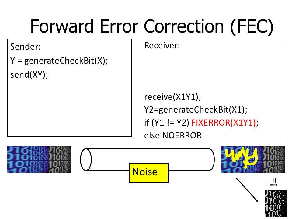 Forward Error Correction (FEC) Sender: Y = generateCheckBit(X); send(XY); Noise Receiver: receive(X1Y1); Y2=generateCheckBit(X1); if (Y1 != Y2) FIXERR