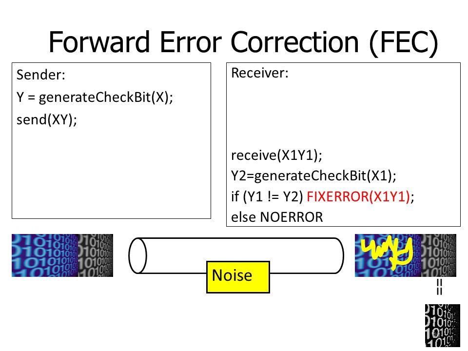 Forward Error Correction (FEC) Sender: Y = generateCheckBit(X); send(XY); Noise == Receiver: receive(X1Y1); Y2=generateCheckBit(X1); if (Y1 != Y2) FIX
