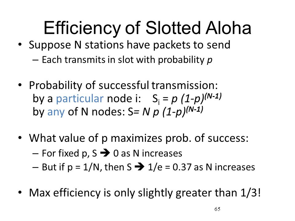 65 Efficiency of Slotted Aloha Suppose N stations have packets to send – Each transmits in slot with probability p Probability of successful transmiss