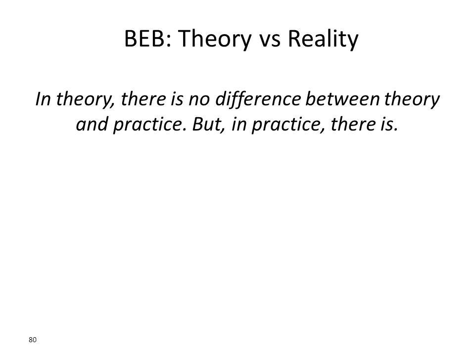 BEB: Theory vs Reality In theory, there is no difference between theory and practice. But, in practice, there is. 80