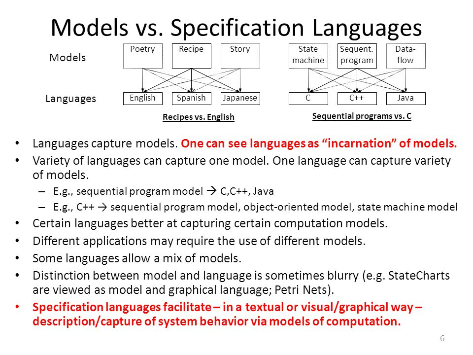"Models vs. Specification Languages 6 Languages capture models. One can see languages as ""incarnation"" of models. Variety of languages can capture one"