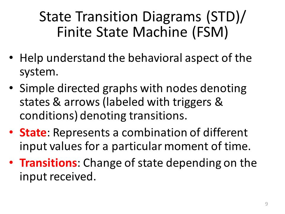 10 Finite State Machine FSM = (Inputs, Outputs, States, InitialState, NextState) Often suitable for controllers, protocols etc.