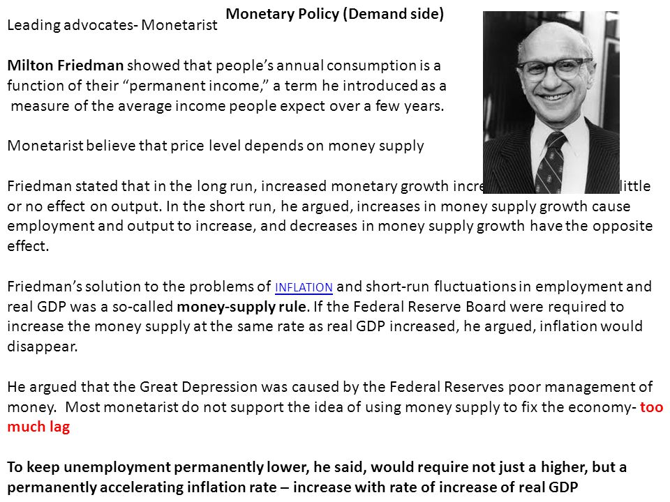 Monetary Policy (Demand side) Leading advocates- Monetarist Milton Friedman showed that people's annual consumption is a function of their permanent income, a term he introduced as a measure of the average income people expect over a few years.