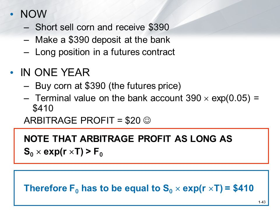 1-43 NOW – Short sell corn and receive $390 – Make a $390 deposit at the bank – Long position in a futures contract IN ONE YEAR – Buy corn at $390 (the futures price) – Terminal value on the bank account 390  exp(0.05) = $410 ARBITRAGE PROFIT = $20 NOTE THAT ARBITRAGE PROFIT AS LONG AS S 0  exp(r  T) > F 0 Therefore F 0 has to be equal to S 0  exp(r  T) = $410