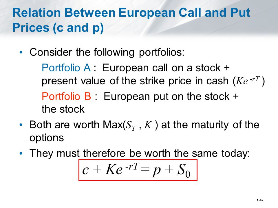 1-47 Relation Between European Call and Put Prices (c and p) Consider the following portfolios: Portfolio A : European call on a stock + present value of the strike price in cash ( Ke -rT ) Portfolio B : European put on the stock + the stock Both are worth Max( S T, K ) at the maturity of the options They must therefore be worth the same today: c + Ke -rT = p + S 0