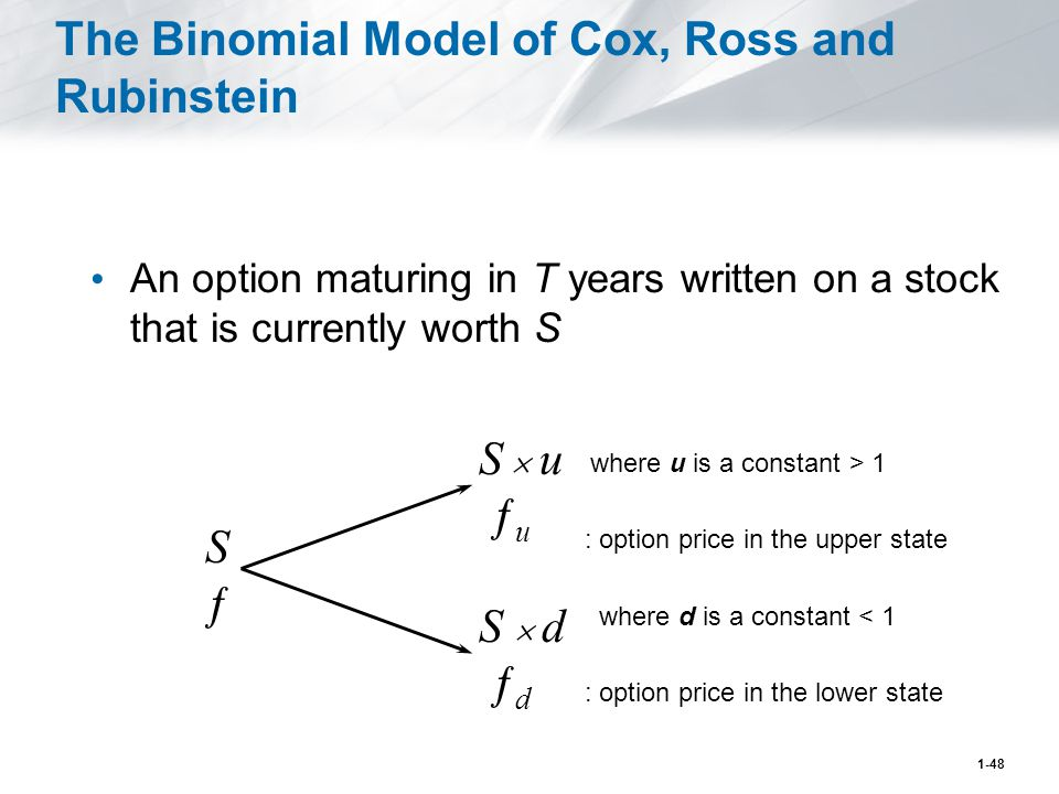 1-48 The Binomial Model of Cox, Ross and Rubinstein An option maturing in T years written on a stock that is currently worth S S  u ƒ u S  d ƒ d SƒSƒ where u is a constant > 1 : option price in the upper state where d is a constant < 1 : option price in the lower state