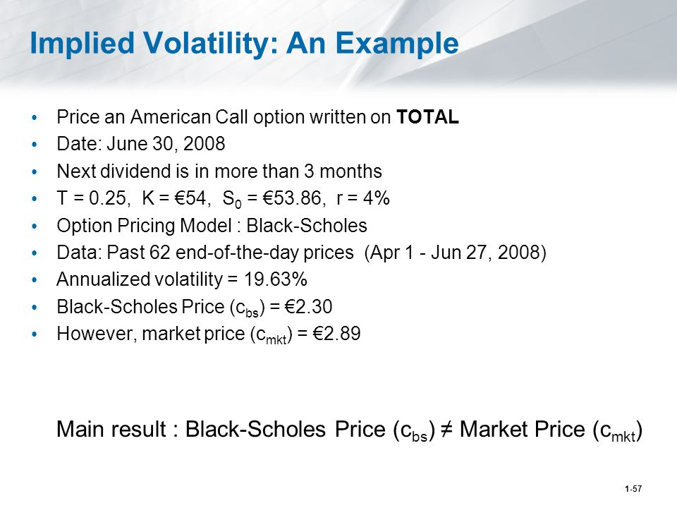 1-57 Implied Volatility: An Example Price an American Call option written on TOTAL Date: June 30, 2008 Next dividend is in more than 3 months T = 0.25, K = €54, S 0 = €53.86, r = 4% Option Pricing Model : Black-Scholes Data: Past 62 end-of-the-day prices (Apr 1 - Jun 27, 2008) Annualized volatility = 19.63% Black-Scholes Price (c bs ) = €2.30 However, market price (c mkt ) = €2.89 Main result : Black-Scholes Price (c bs ) ≠ Market Price (c mkt )
