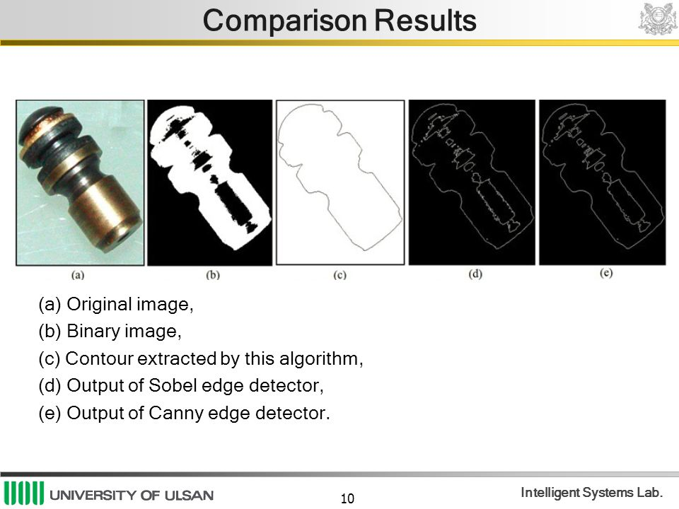 10 Intelligent Systems Lab. Comparison Results (a) Original image, (b) Binary image, (c) Contour extracted by this algorithm, (d) Output of Sobel edge