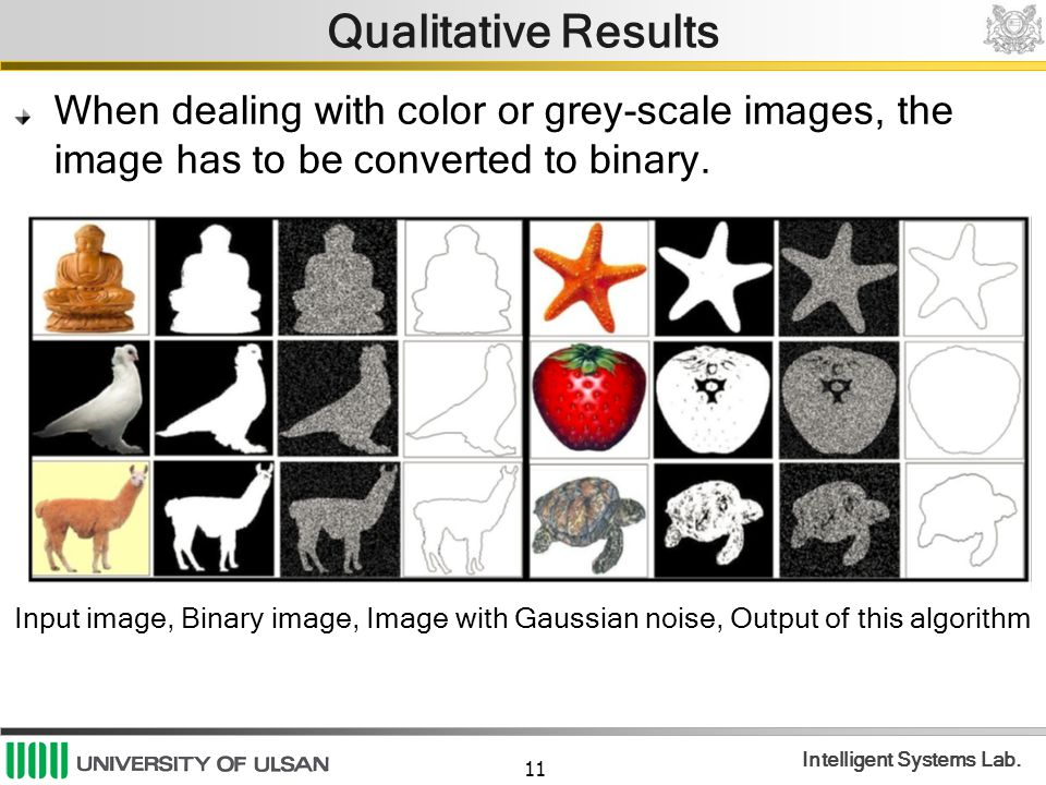 11 Intelligent Systems Lab. Qualitative Results When dealing with color or grey-scale images, the image has to be converted to binary. Input image, Bi