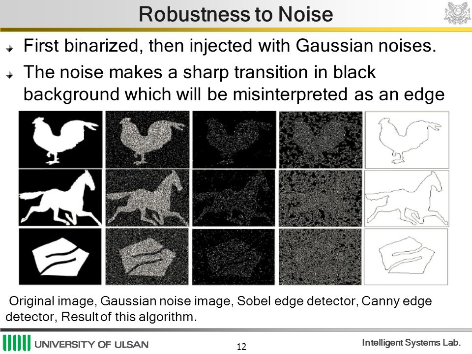 12 Intelligent Systems Lab. Robustness to Noise First binarized, then injected with Gaussian noises. The noise makes a sharp transition in black backg