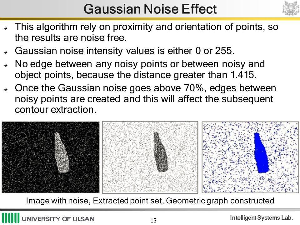 13 Intelligent Systems Lab. Gaussian Noise Effect This algorithm rely on proximity and orientation of points, so the results are noise free. Gaussian