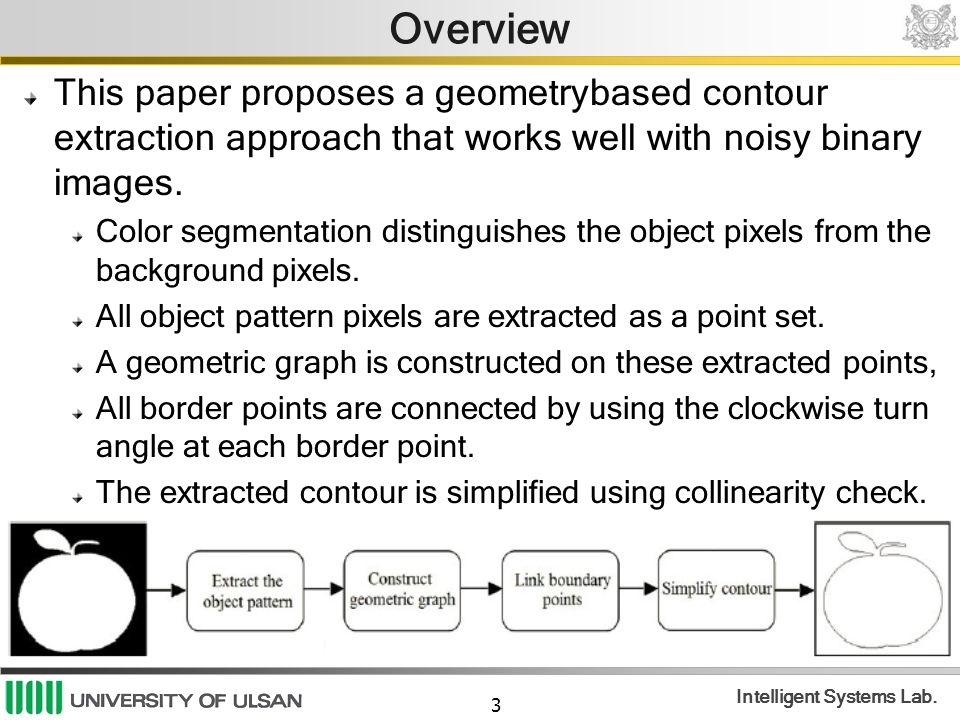 3 Intelligent Systems Lab. Overview This paper proposes a geometrybased contour extraction approach that works well with noisy binary images. Color se