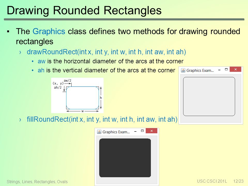 Drawing Rounded Rectangles ▪The Graphics class defines two methods for drawing rounded rectangles ›drawRoundRect(int x, int y, int w, int h, int aw, int ah) aw is the horizontal diameter of the arcs at the corner ah is the vertical diameter of the arcs at the corner ›fillRoundRect(int x, int y, int w, int h, int aw, int ah) USC CSCI 201L12/23 Strings, Lines, Rectangles, Ovals