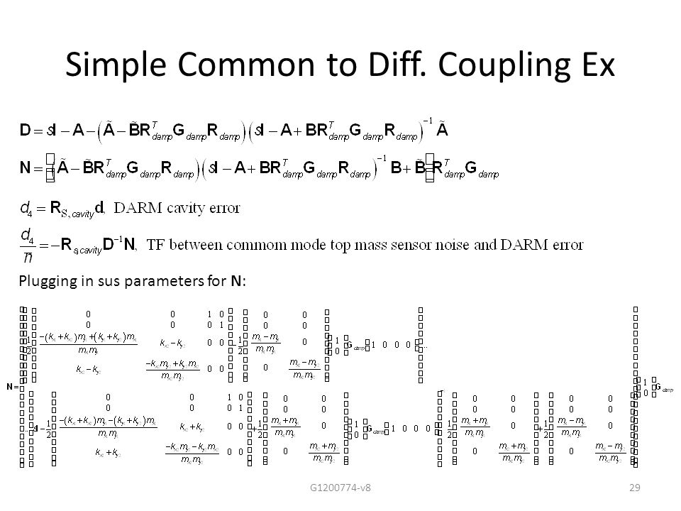 Simple Common to Diff. Coupling Ex G1200774-v829 Plugging in sus parameters for N:
