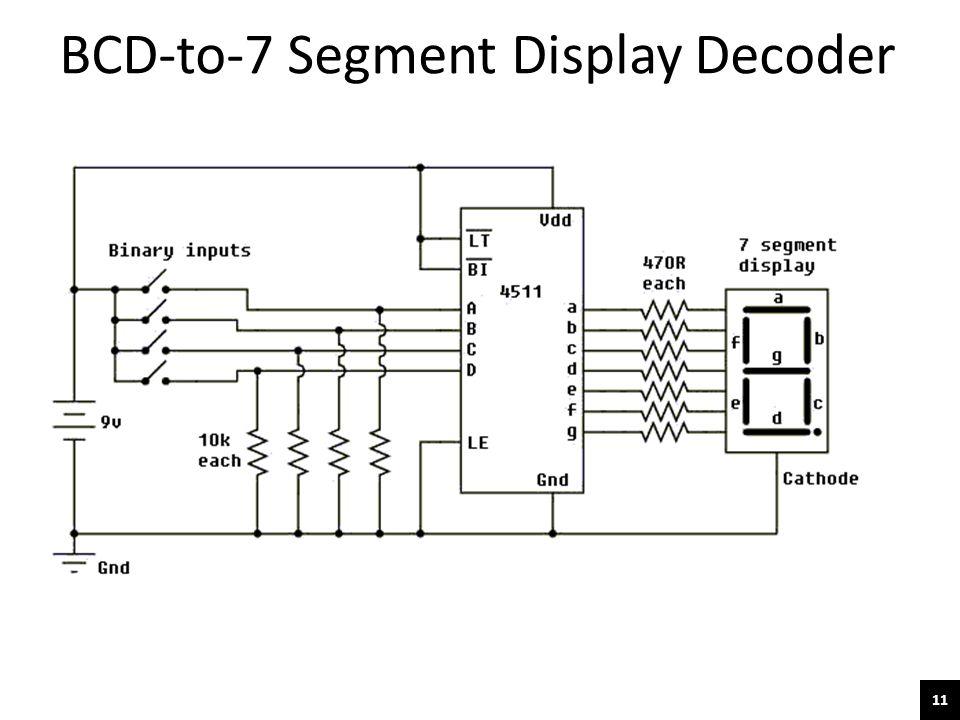 11 BCD-to-7 Segment Display Decoder