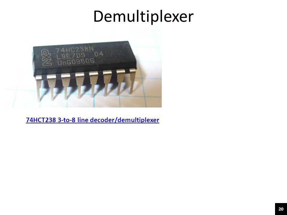 20 74HCT238 3-to-8 line decoder/demultiplexer Demultiplexer