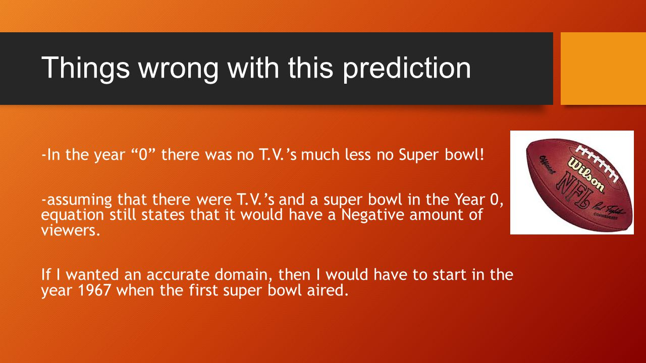 Things wrong with this prediction -In the year 0 there was no T.V.'s much less no Super bowl.