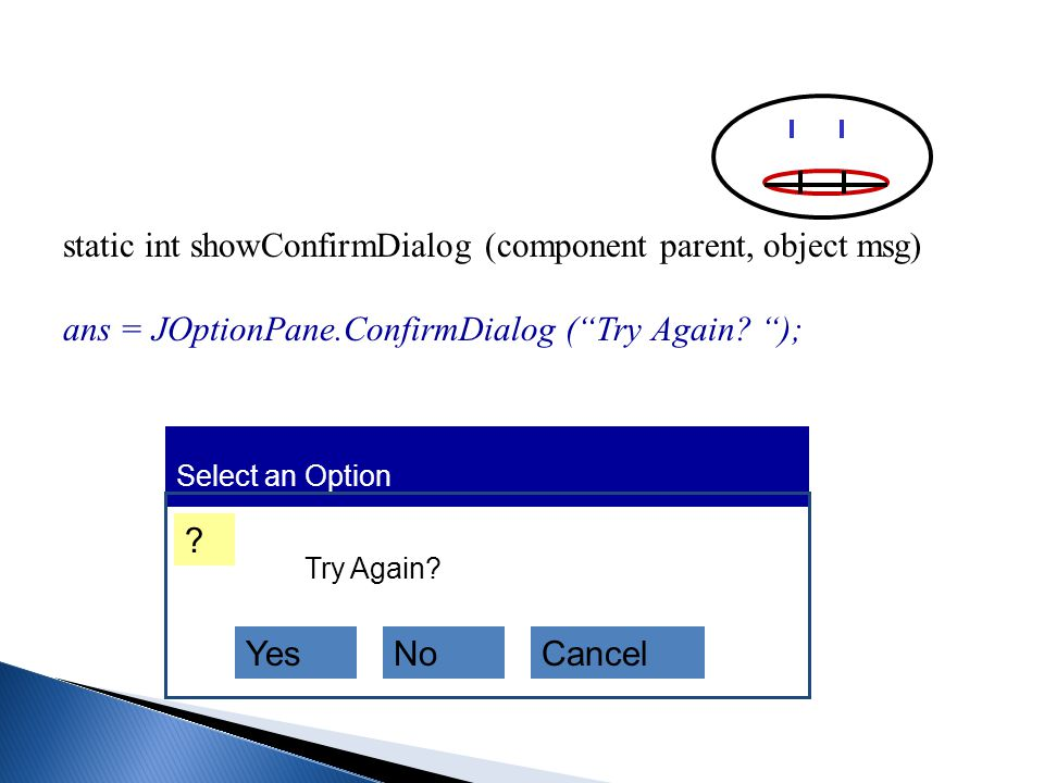 static int showConfirmDialog (component parent, object msg) ans = JOptionPane.ConfirmDialog ( Try Again.