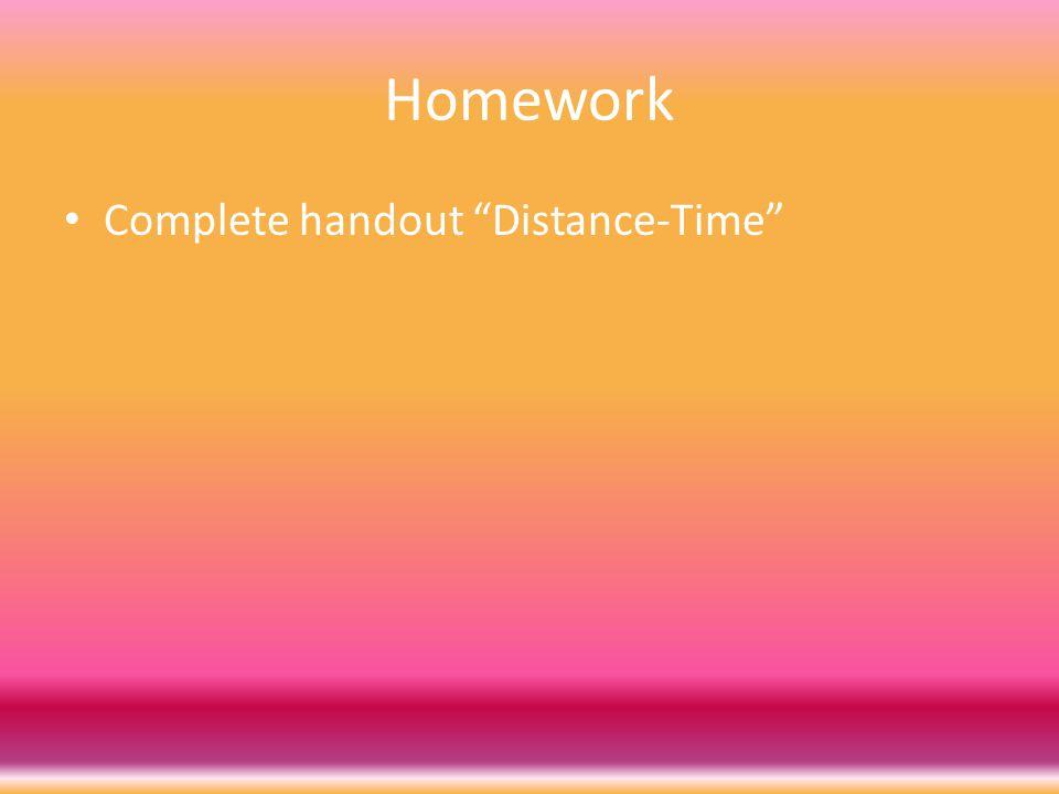 Homework Complete handout Distance-Time