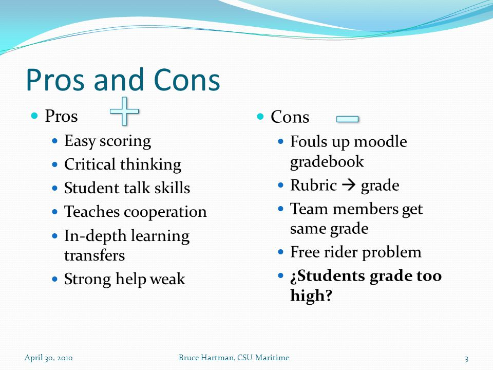 Pros and Cons Pros Easy scoring Critical thinking Student talk skills Teaches cooperation In-depth learning transfers Strong help weak Cons Fouls up moodle gradebook Rubric  grade Team members get same grade Free rider problem ¿Students grade too high.