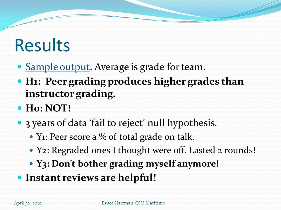 Results Sample output. Average is grade for team.