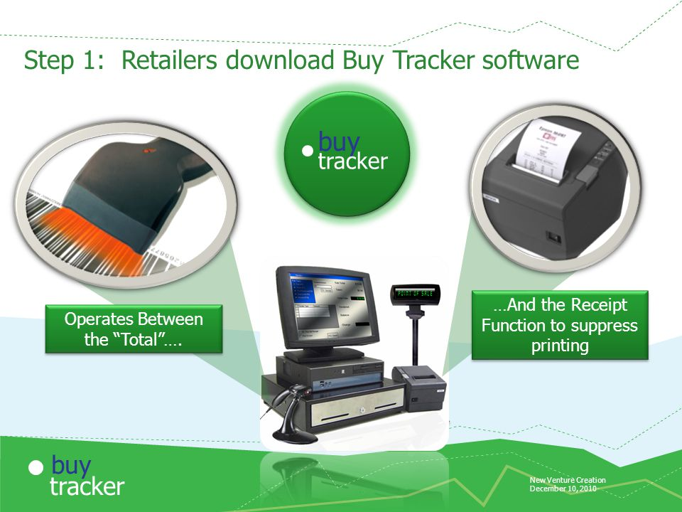 New Venture Creation December 10, 2010 tracker buy Internet Step 1: Retailers download Buy Tracker software Operates Between the Total ….