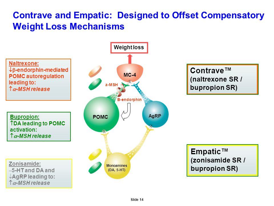 Slide 14 Contrave and Empatic: Designed to Offset Compensatory Weight Loss Mechanisms MC-4 AgRP POMC Monoamines (DA, 5-HT) Bupropion:  DA leading to