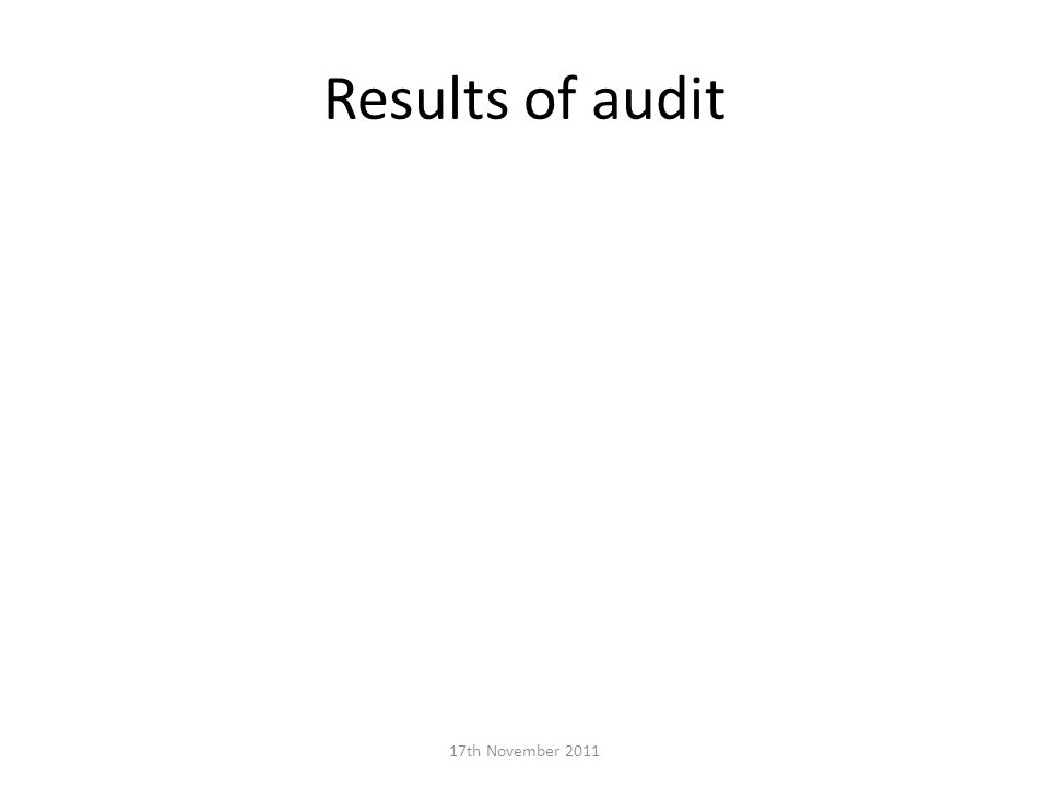 Results of audit 17th November 2011