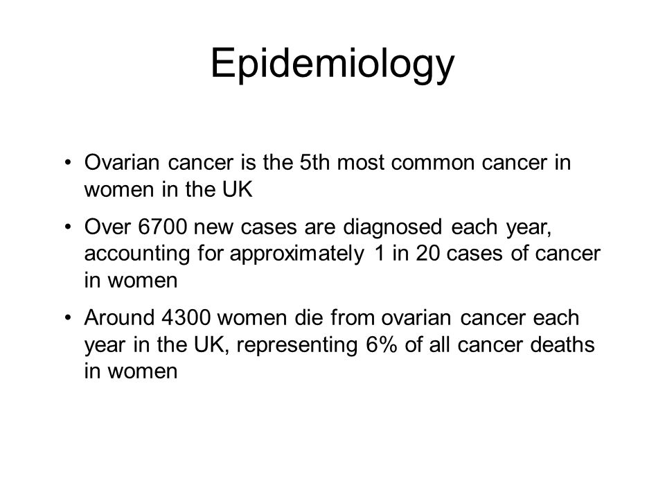 Epidemiology Ovarian cancer is the 5th most common cancer in women in the UK Over 6700 new cases are diagnosed each year, accounting for approximately 1 in 20 cases of cancer in women Around 4300 women die from ovarian cancer each year in the UK, representing 6% of all cancer deaths in women