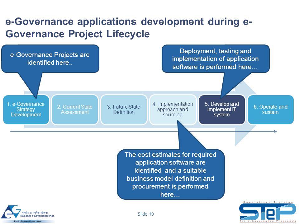 Slide 10 e-Governance applications development during e- Governance Project Lifecycle 1. e-Governance Strategy Development 2. Current State Assessment