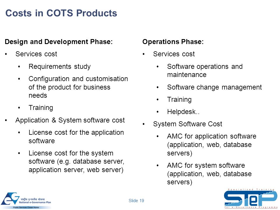 Slide 19 Costs in COTS Products Design and Development Phase: Services cost Requirements study Configuration and customisation of the product for business needs Training Application & System software cost License cost for the application software License cost for the system software (e.g.