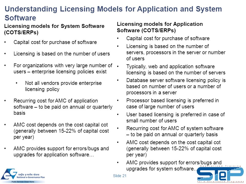 Slide 21 Understanding Licensing Models for Application and System Software Licensing models for System Software (COTS/ERPs) Capital cost for purchase of software Licensing is based on the number of users For organizations with very large number of users – enterprise licensing policies exist Not all vendors provide enterprise licensing policy Recurring cost for AMC of application software – to be paid on annual or quarterly basis AMC cost depends on the cost capital cot (generally between 15-22% of capital cost per year) AMC provides support for errors/bugs and upgrades for application software… Licensing models for Application Software (COTS/ERPs) Capital cost for purchase of software Licensing is based on the number of servers, processors in the server or number of users Typically, web and application software licensing is based on the number of servers Database server software licensing policy is based on number of users or a number of processors in a server Processor based licensing is preferred in case of large number of users User based licensing is preferred in case of small number of users Recurring cost for AMC of system software – to be paid on annual or quarterly basis AMC cost depends on the cost capital cot (generally between 15-22% of capital cost per year) AMC provides support for errors/bugs and upgrades for system software…