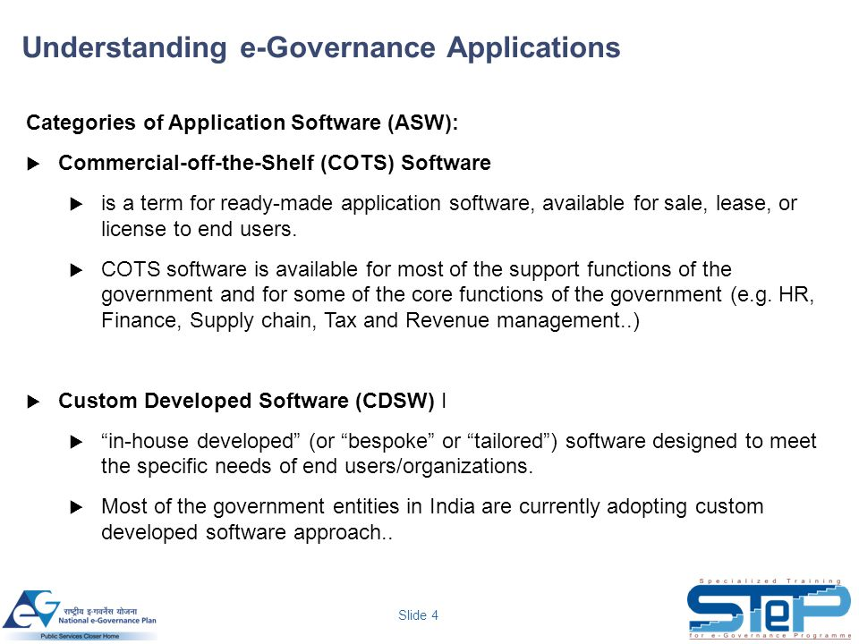 Slide 4 Categories of Application Software (ASW):  Commercial-off-the-Shelf (COTS) Software  is a term for ready-made application software, availabl