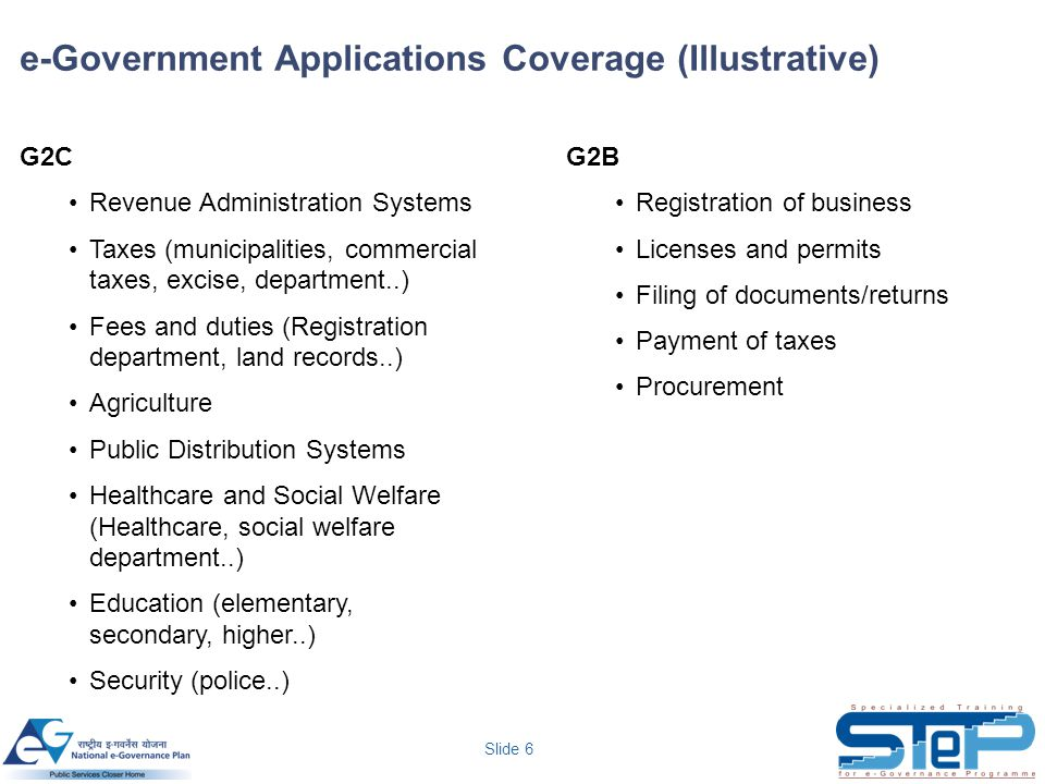 Slide 6 e-Government Applications Coverage (Illustrative) G2C Revenue Administration Systems Taxes (municipalities, commercial taxes, excise, department..) Fees and duties (Registration department, land records..) Agriculture Public Distribution Systems Healthcare and Social Welfare (Healthcare, social welfare department..) Education (elementary, secondary, higher..) Security (police..) G2B Registration of business Licenses and permits Filing of documents/returns Payment of taxes Procurement