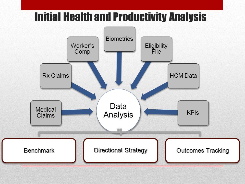 Initial Health and Productivity Analysis Data Analysis Medical Claims Rx Claims Worker's Comp Biometrics Eligibility File HCM DataKPIs BenchmarkBenchm
