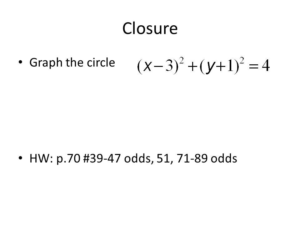 Closure Graph the circle HW: p.70 #39-47 odds, 51, 71-89 odds
