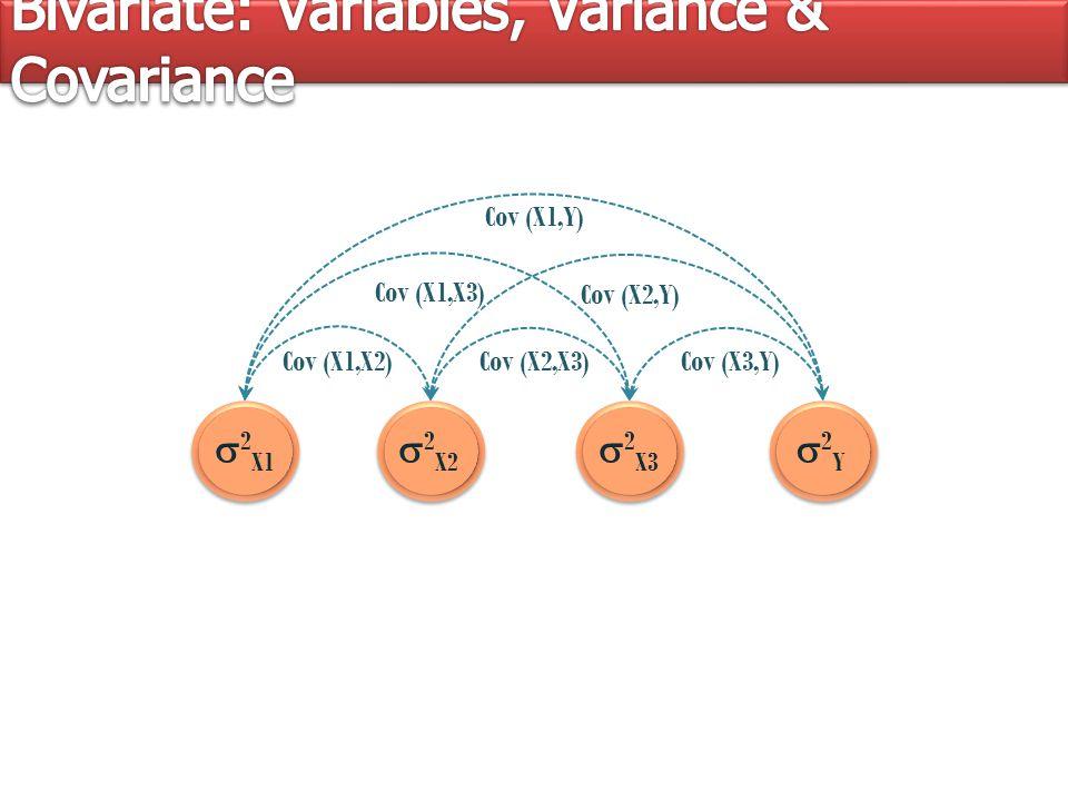  2 X1  2 X2  2 X3 2Y2Y Cov (X1,Y) Cov (X1,X2) Cov (X1,X3) Cov (X2,X3) Cov (X2,Y) Cov (X3,Y) Cov (X1,Y) Cov (X1,X2) Cov (X1,X3) Cov (X2,X3) Cov (X2,Y) Cov (X3,Y)