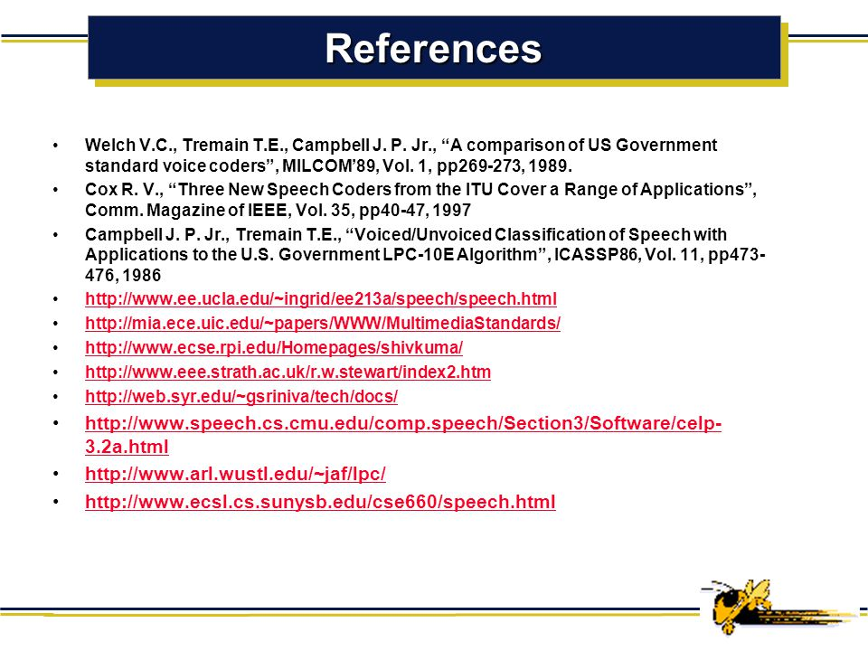 Speech Coder Comparison Original